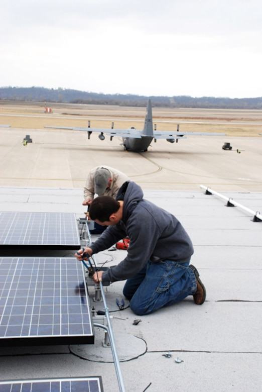 Solar panels were installed on various buildings at the 139th AW. (U.S. Air Force photo by Major Barb Denny) (RELEASED)