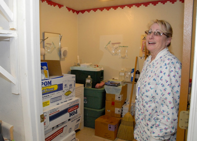Pat Smith, Head Registered Nurse for Saint Michael?s Association for Special Education, shows the current condition of the medical quarters. The small medical staff of four people currently sanitize their equipment and store supplies in the bathroom.