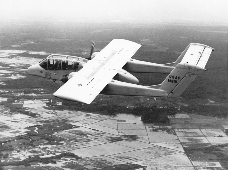 The OV-10 Bronco making its maiden flight in Southeast Asia in August 1968 during its 90-day period of combat evaluation with the 19th TASS. (U.S. Air Force photo)