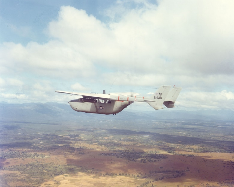 O-2A in flight near Pleiku in 1968. Faster than the O-1 Bird Dog, the O-2A could respond to calls for air support more quickly and could stay over the target longer. (U.S. Air Force photo)