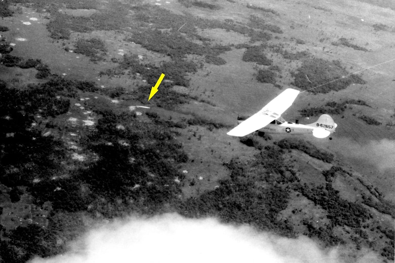 An O-1F pilot of the Red Marker FACs at Tan Son Nhut AB fires a marking rocket at an enemy site near Tay Ninh City. The Red Markers, officially known as Advisory Team 162, provided FAC support for the ARVN Airborne Division. (U.S. Air Force photo)