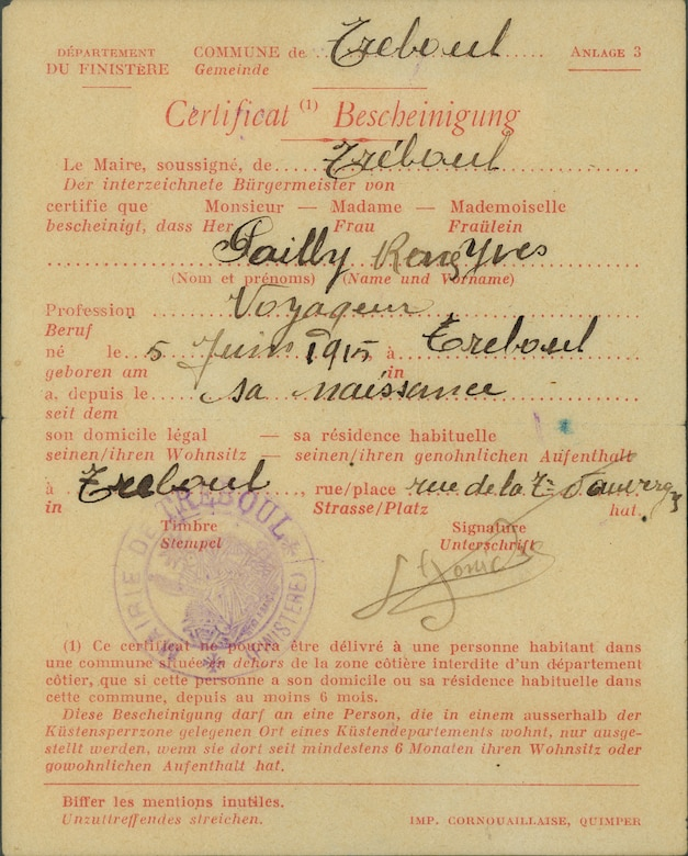 Members of the French Resistance created these false identification papers for Lt Patton. French citizens carried this certificate of work to prevent removal to forced labor camps in Germany. (U.S. Air Force)