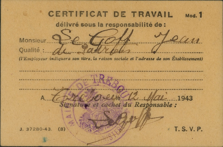 Members of the French Resistance created these false identification papers for Lt Patton. This paper (front) was required specifically for travel in the coastal region of France (U.S. Air Force)