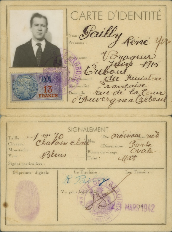 Members of the French Resistance created these false identification papers for Lt Patton. German occupation forces required all French citizens to carry an identity card. (U.S. Air Force)