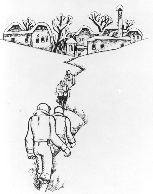 Like their western European counterparts, resistance fighters in the Balkans offered assistance to downed Airmen. On March 19, 1944, partisan painter Ive Subic and a courier came across two USAAF B-24 crewmen who had been shot down over Slovenia. Subic drew an illustration of the encounter. (U.S. Air Force)