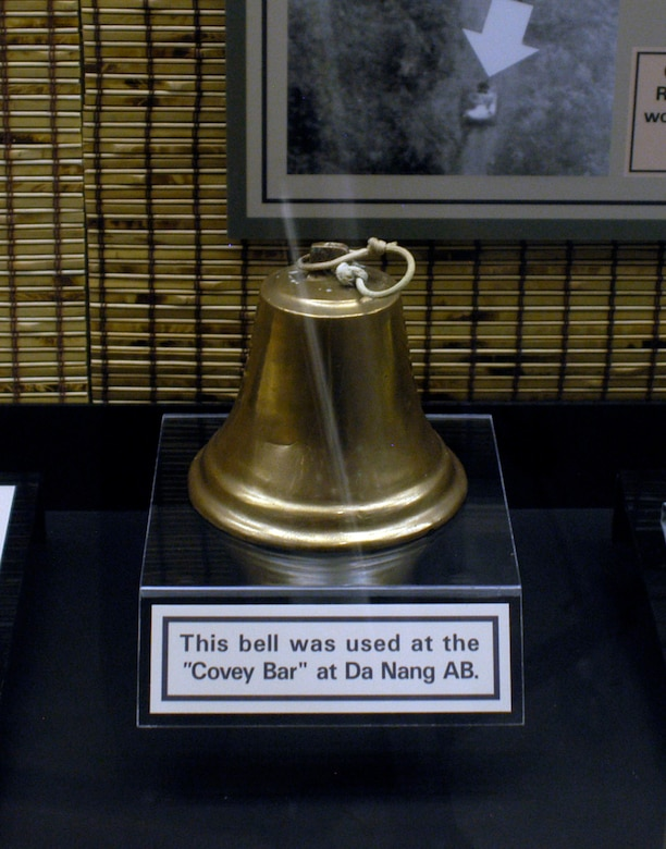 """DAYTON, Ohio - This bell was used at the """"Covey Bar"""" at Da Nang AB. The bell is on display in the A Dangerous Business: Forward Air Control exhibit in the Southeast Asia War Gallery at the National Museum of the U.S. Air Force. (U.S. Air Force photo)"""