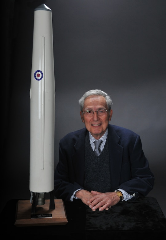 Dr. Peter Portanova, one of the engineers most critical to the deployment of the Thor in England, is pictured with a Thor model. (Photo by Atiba S. Copeland)