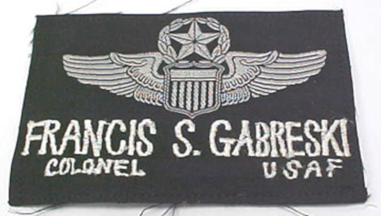 This cloth nametag belonged to Col. Francis S. Gabreski, who was one of the few pilots to become an ace in two wars (World War II and the Korean War). He was also a prisoner of war in Stalag Luft 1 during WWII. As the eighth jet ace in aerial history, Gabreski had a combined score of 37.5 enemy aircraft destroyed (34.5 aerial victories) during WWII and Korea. (U.S. Air Force photo)