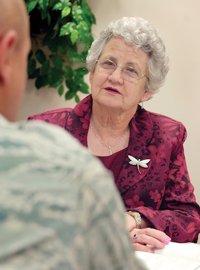Counseling people through substance abuse problems requires Mildred Fitch to build an environment where people feel safe talking openly.  Ms. Fitch has been doing that through Tinker's Alcohol and Drug Abuse Prevention and Treatment program for more than a decade. (Air Force photo by Margo Wright)