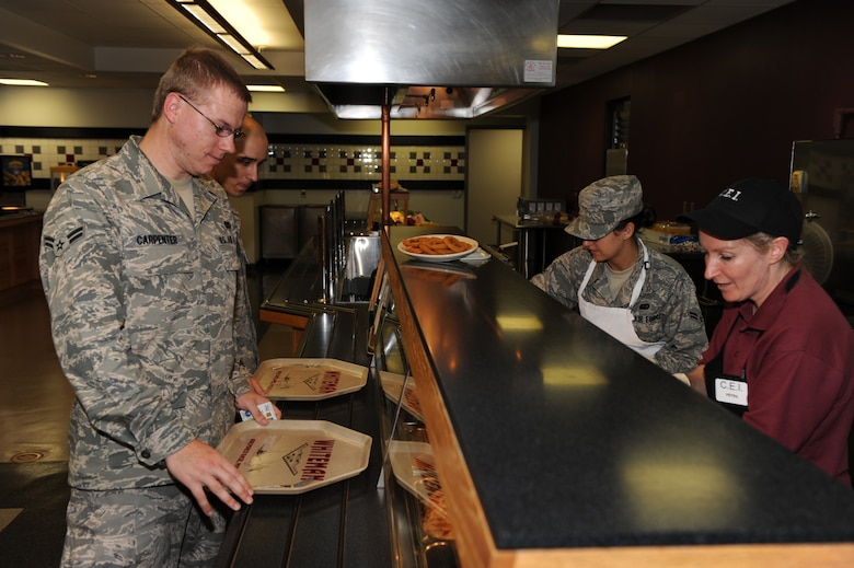 WHITEMAN AIR FORCE BASE, Mo. - Customers stand in line as they decide what they would like to eat from the Ozark Inn. The Ozark Inn has won the John L. Hennessy award for best in food service three consecutive years. (U.S. Air Force Photo/ Airman 1st Class Carlin Leslie)
