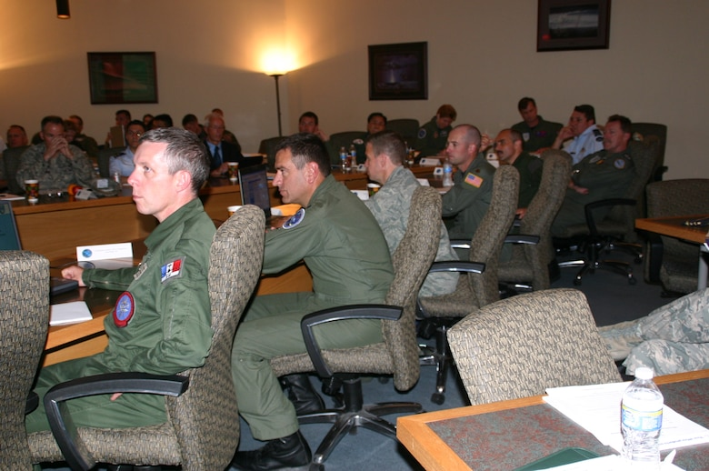 Attendees of the EMACC spent the majority of their time at Tinker AFB listening to briefings and discussing issues in the Hill Conference Center. Photo courtesy of 1st Lt. Blacke.
