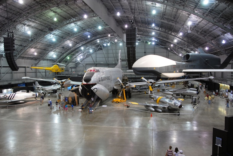 DAYTON, Ohio -- (From left) Douglas C-124C Globemaster, North American RF-86F and Northrop Grumman RQ-4 Global Hawk at the National Museum of the U.S. Air Force. (U.S. Air Force photo)