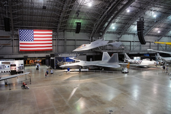 DAYTON, Ohio -- Lockheed Martin F-22A Raptor (bottom) and Boeing Bird of Prey at the National Museum of the United States Air Force. (U.S. Air Force photo)