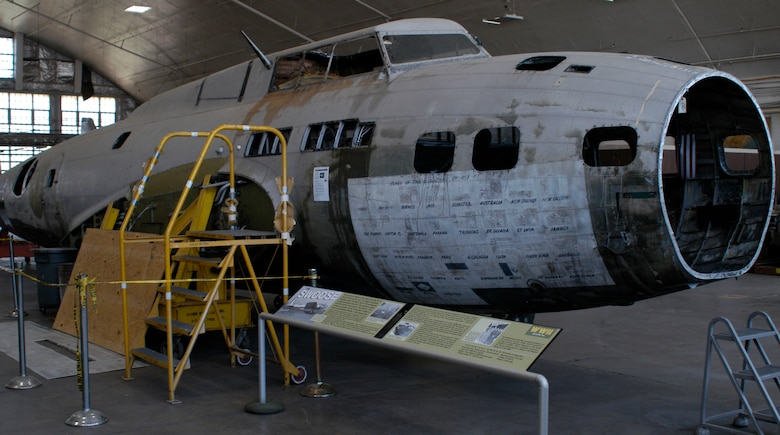 "DAYTON, Ohio - B-17D ""The Swoose"" in the Restoration Hangar at the National Museum of the U.S. Air Force.  (U.S. Air Force Photo)"