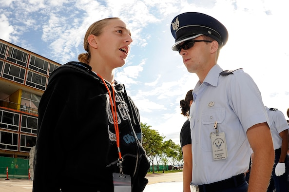 A basic cadet learns basic responses during cadet inprocessing at the U.S. Air Force Academy in Colorado Springs, Colo., June 25. Females comprise 20 percent of the Class of 2013. (U.S. Air Force photo/Mike Kaplan)