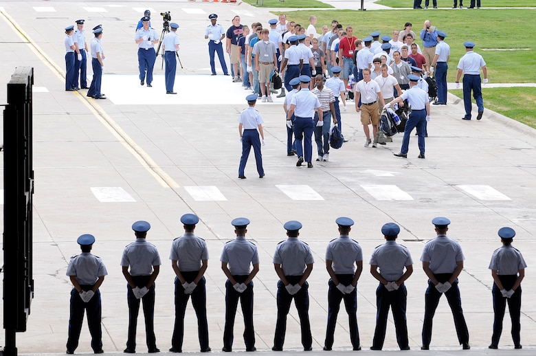 Basic cadets walk toward the Core Values ramp to the Terrazzo during cadet inprocessing at the U.S. Air Force Academy in Colorado Springs, Colo., June 25. More than 1,300 cadets were accepted to the Class of 2013, out of nearly 10,000 who applied. (U.S. Air Force photo/Mike Kaplan)