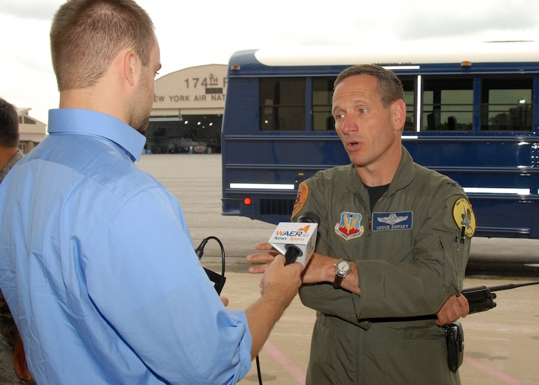 WAER Reporter Steve Doane interviews New York Air National Guard, 174th Fighter Wing Vice Commander, Col. Charles Dorsey at Hancock Field in Syracuse, NY, on 26 June 2009. Doane was invited as part of the Media Day event introducing the new MQ-9 Reaper Unmanned Aerial Vehicle mission of the 174th Fighter Wing. (US Air Force photo by Tech. Sgt. Jeremy M. Call/Released)