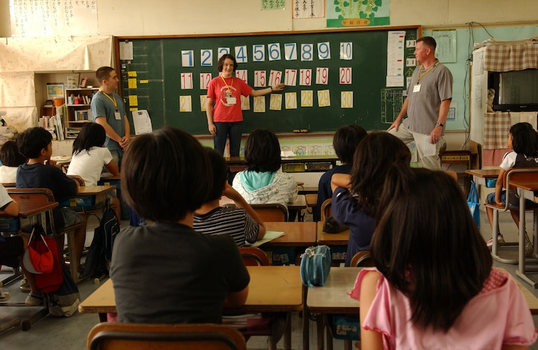 Kadena Airmen visit Takahara Elementary School to enable local children to learn English through conversational exchanges and motivational games June 12. 