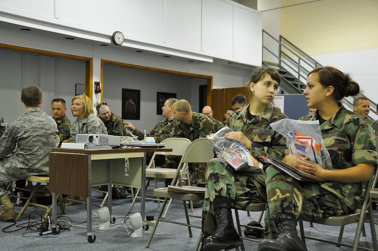 Airmen from the 128th Air Refueling Wing wait to receive briefings as part of the wing's pre-deployment process on Tuesday, June 30, 2009.  The briefings were given by medical readiness personnel, family support staff, personnel specialists, intel officers, and the civil engineering squadron's threat readiness specialists.  (U.S. Air Force photo by Senior Airman Ryan Kuntze)
