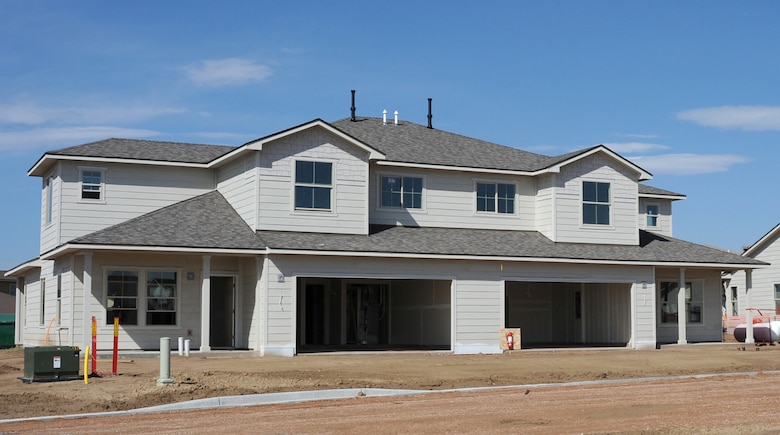 SCHRIEVER AIR FORCE BASE, Colo. - A photo of the exterior of a junior enlisted home, taken June 4 at the Schriever housing construction site. Company Grade Officer and junior enlisted homes are expected to be released in September. (U.S. Air Force photo/Amber Whittington)