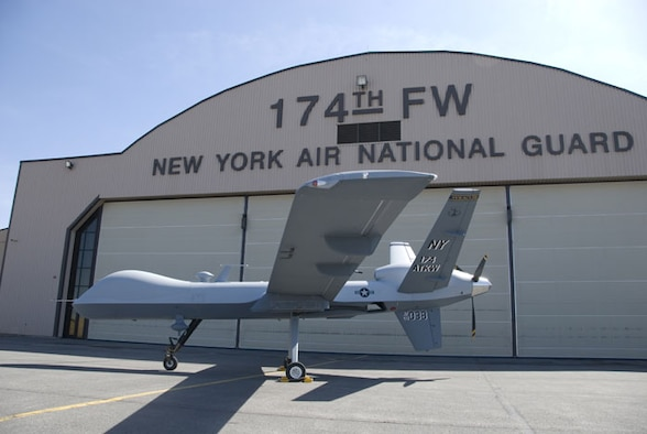 "The 174th Fighter Wing, Hancock Field Air National Guard Base, Syracuse, NY shows off it's latest aircraft: The MQ-9 ""Reaper"". The unit will begin flying Combat Air Patrols with the MQ-9 beginning in November of this year, while flying out the F-16 Fighting Falcon until March 2010. (U.S. Air Force Photo by Tech. Sgt. Jeremy M. Call/RELEASED)"