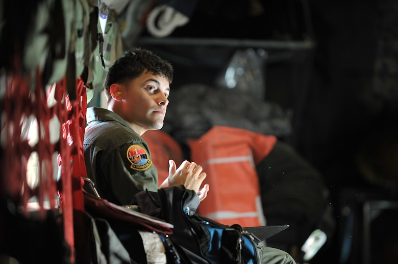 Senior Airman Genesis Santiago waits for the next emergency during an aeromedical evacuation training flight inside a KC-135 Stratotanker Friday. He and other Airmen from the 514th Aeromedical Evacuation Squadron at McGuire Air Force Base, N.J., trained on a KC-135 flown by Airmen assigned to the 931st Air Refueling Group. (U.S. Air Force photo/Tech. Sgt. Jason Schaap)