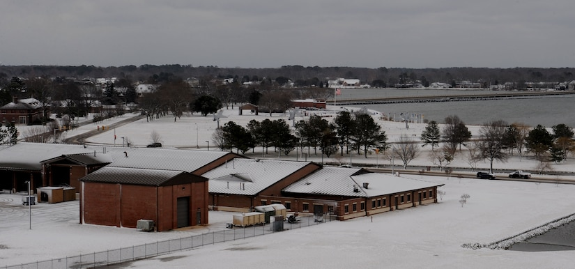 LANGLEY AIR FORCE BASE, Va.-- Memorial Park, King Street Gate, and other landmarks are seen from the top of the air traffic control tower after a snowstorm March 2. Langley was hit with parts of the largest  snowfall Virginia has seen in the last three years. (U.S. Air Force photo/Airman Rebecca Montez)