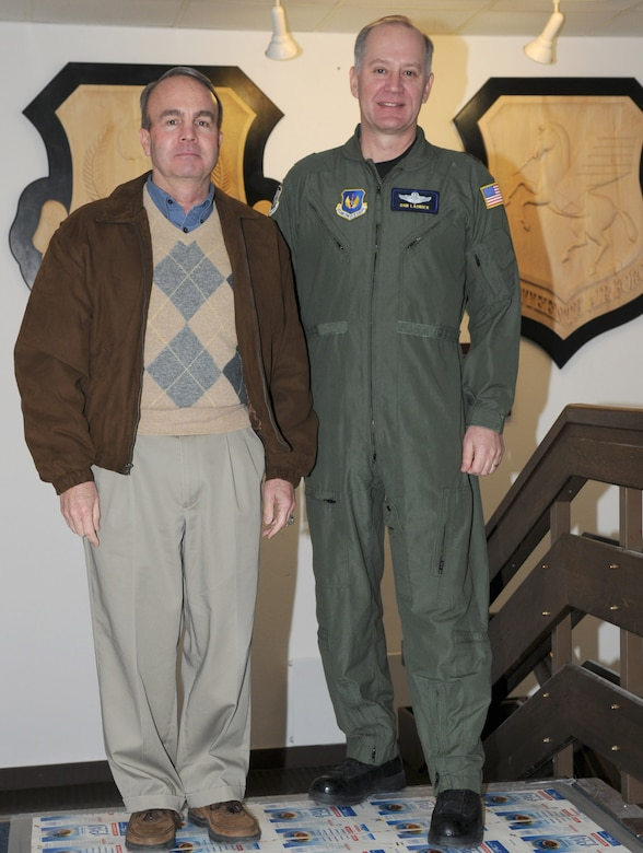 Retired Lt. Gen. Charles Heflebower (left), who commanded Seventeenth Air Force in it's previous incarnation at Sembach Air Base from 1995-'96, greets current 17th AF Commander Maj. Gen. Ron Ladnier Feb 3. at 17th AF HQ.  (USAF Photo by Master Sgt. Jim Fisher)
