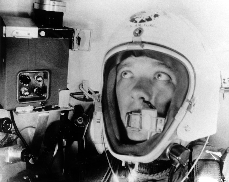 Self-photograph made by Maj. Simons as he approached his record altitude. (U.S. Air Force photo)