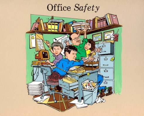 "Mr. Zeilman created this ""Office Safety"" painting in the late 1980's to liven up safety briefings.  The painting features co-workers Mr. Zeilman had at the time."