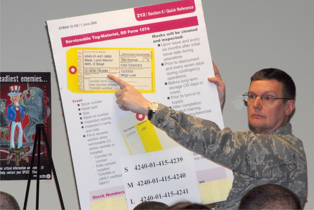 The 140th Wing conducted a Phase 1 Operational Readiness Inspection that required members to process through a deployment line as if they were heading to another country, just like they do in a wartime scenario.  During this phase of the deployment Major Richard Boylan is explaining to member how the DD Form 1574 is filled out so members have the correct information.  (Photo by SrA Carrie Bradley, 140th Public Affairs)