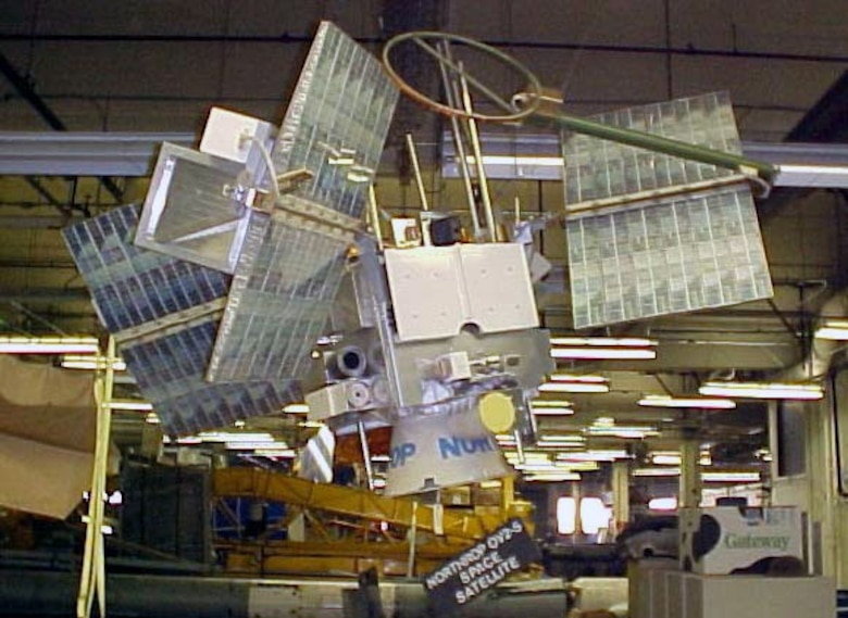 The OV2-5 was designed for solar, magnetic and cosmic ray research in space. On Sept. 28, 1968, it was boosted from the ground by a Titan III launch vehicle into a circular equatorial orbit at an altitude of 22,000 miles above the Earth. It was designed with an operating life in space of at least one year. (U.S. Air Force photo)