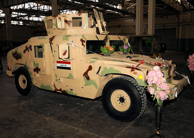 An M1114 HMMWV is called Project One because it is the first vehicle to go through the overhaul production by an all Iraqi maintenance crew March 4 at Taji, Iraq. Members of the Iraqi army worked on the transmission, engine, drive train and paint job. (U.S. Air Force photo/Senior Airman Jacqueline Romero)
