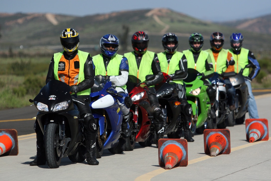 Over 40 service members from the San Diego region participated in Track Day, Saturday hosted by California Subperbike School instructors on the flight line aboard Marine Corps Air Station Miramar. The service members were instructed on performing proper throttle control during the day.