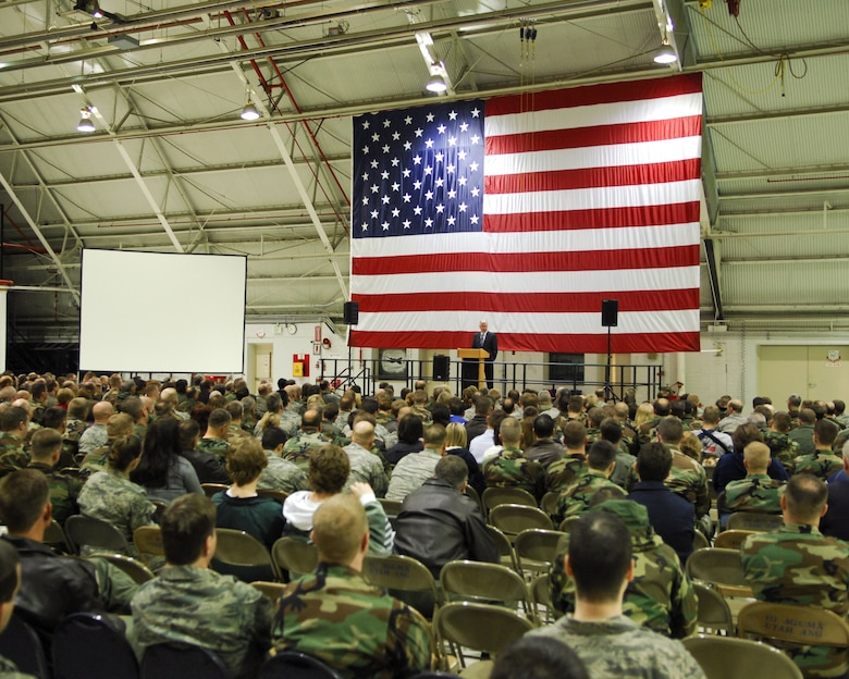 Over 400 members of the Utah Air National Guard attended a devotional featuring President Dieter F. Uchtdorf, Second Counselor in the First Presidency of The Church of Jesus Christ of Latter-day Saints on Feb. 8 at the Utah Air National Guard Base. Pres. Uchtdorf was invited by the Utah ANG to speak at a Sunday morning devotional held at the base.U.S. photo by Master Sgt. Burke Baker