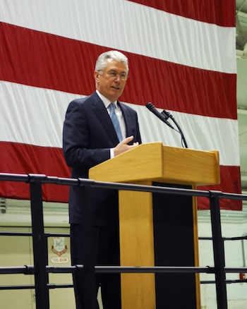 President Dieter F. Uchtdorf, Second Counselor in the First Presidency of The Church of Jesus Christ of Latter-day Saints, visits members of the Utah Air National Guard at the Utah ANG Base in Salt Lake City on Feb. 8.  Pres. Uchtdorf was invited by the Utah ANG to speak at a Sunday morning devotional held at the base.