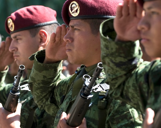 Mexican army members salute during a ceremony honoring the 201st Fighter Squadron at Chapultepec Park in Mexico City, Mexico, March 6, 2009.