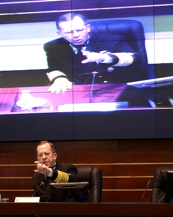U.S. Navy Adm. Mike Mullen, chairman of the Joint Chiefs of Staff, speaks at the Mexican Navy War College in Mexico City, Mexico, March 6, 2009.