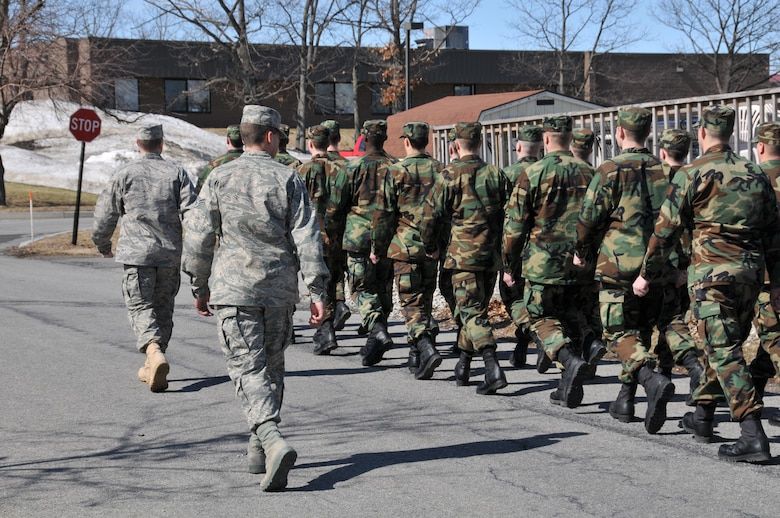 BRATS cadre assistants march the student flight around base March 8. The Basic Recruits Attending Training at Stratton program prepares recruits for the atmosphere they will encounter when they attend Basic Military Training at Lackland Air Force Base, Texas.