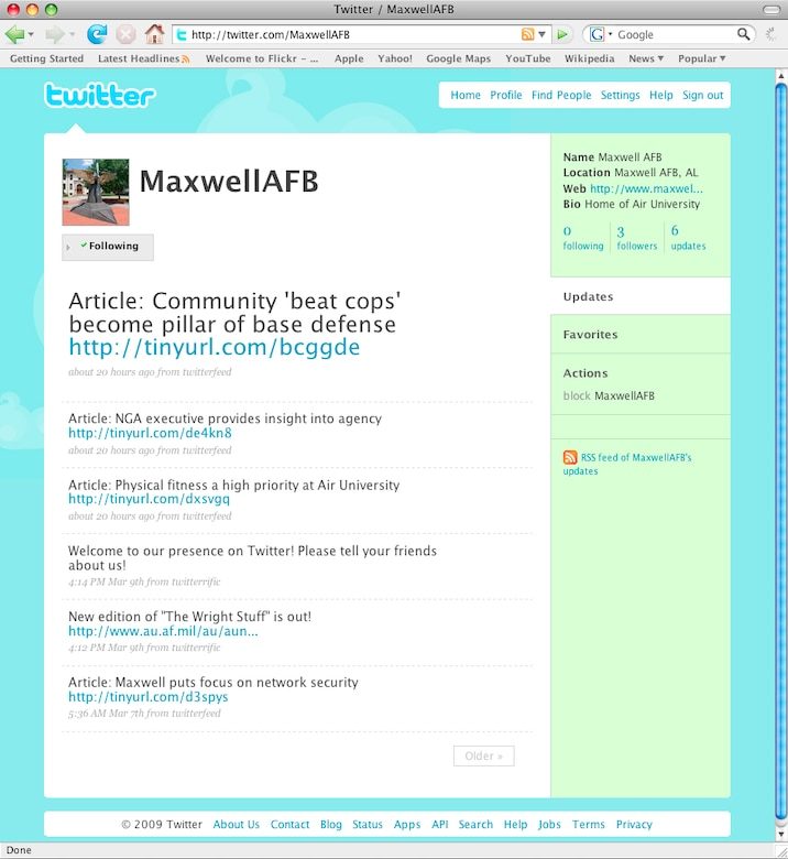 Pictured is a screenshot of Maxwell Air Force Base's Twitter feed. Maxwell joined Twitter on March 7, making it the first base in Air Education and Training Command to do so. (Courtesy graphic)