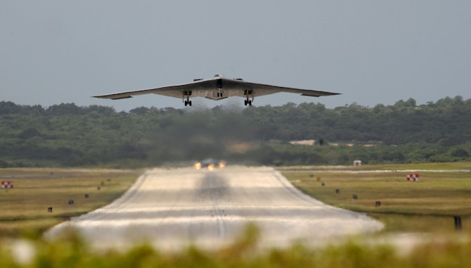 A B-2 Spirit from the 509th Bomb Wing, 13th Bomb Squadron Whiteman