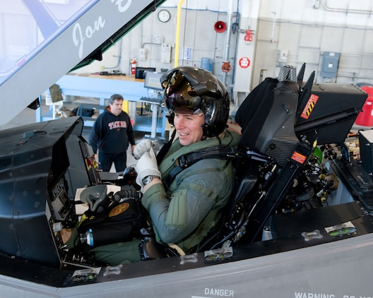 Maj. Joseph T. Bachmann prepares to fly the F-35 Lightning II on March 19 at the Lockheed Martin Aeronautics plant. The flight marked the first time a Marine had flown the supersonic, stealth fighter.