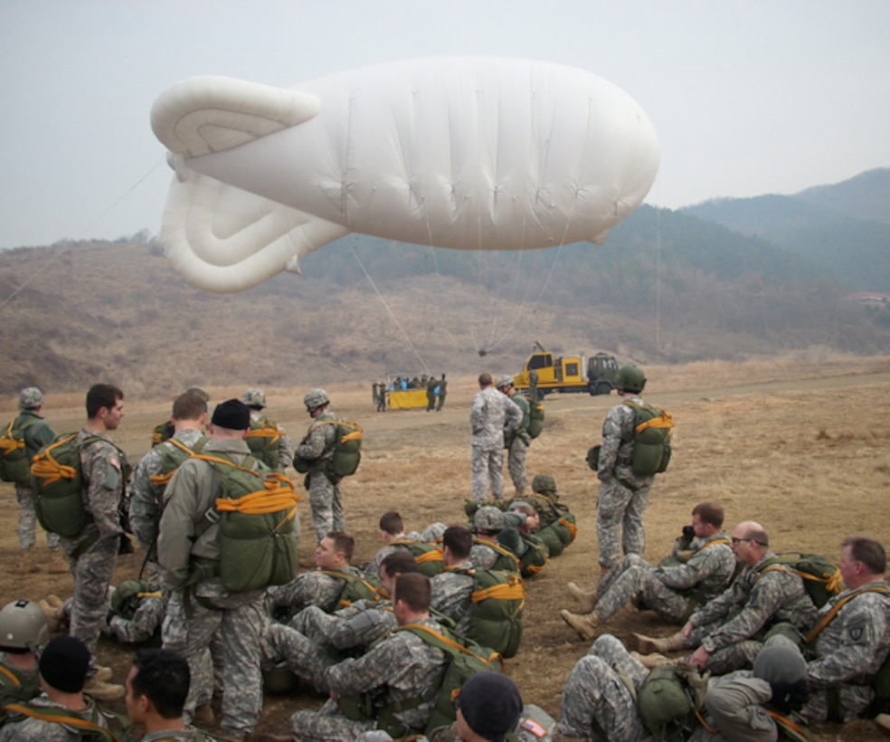 Special Operations Command Korea (SOCKOR) conducted airborne jumps with a helium blimp and gondola at the ROK Drop Zone, 5 March 2009. The jump was an opportunity for SOCKOR augmentees that are assigned or attached during Exercise Key Resolve 09 to jump with active SOCKOR members. Photo courtesy of Special Operations Command Korea (SOCKOR)