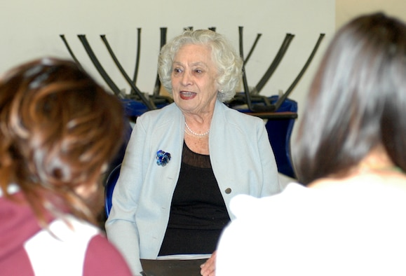 Klara Swimmer, an 84-year-old Holocaust survivor, tells her story to a group of Tucson area high school students during the 162nd Fighter Wing's Holocaust Rememberance event here, March 17. (Air National Guard Photo by Staff Sgt. Jordan Jones)