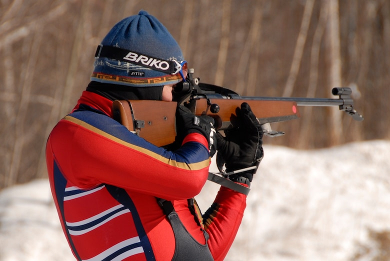 Lt. Col. Eric Chandler, 148th Fighter Wing MN National Guard, fires on a target during the 2009 Chief National Guard Bureau Biathlon Championships at Ethan Allen Firing Range in Jericho, Vt., from March 1-7, 2009.  Chandler was awarded a silver medal for 2nd place among the 18 Novice competitors in the field of 60 biathletes.  (US Air Force Photo by MSgt Greg Wohlfeil, MN National Guard.)