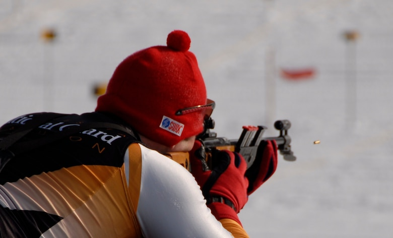 Capt. Eric Nordgren, 148th Fighter Wing MN Air National Guard, fires on a target in the 15 kilometer Patrol Race during the 2009 Chief National Guard Bureau Biathlon Championships at Ethan Allen Firing Range in Jericho, Vt., from March 1-7, 2009.  The Minnesota National Guard Biathlon Team won First Place Team Overall.  (US Air Force Photo by MSgt Greg Wohlfeil, MN National Guard.)