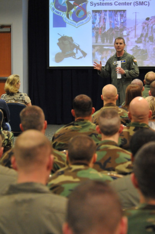 Major Rouven Forbes briefs members of the AFROTC detachment from Brigham Young University during their visit to Los Angeles AFB, March 6.  The students were in town to compete in the 2009 Southern California Invitation Drill Competition at Angels Stadium, March 7. (Photo by Atiba S. Copeland)