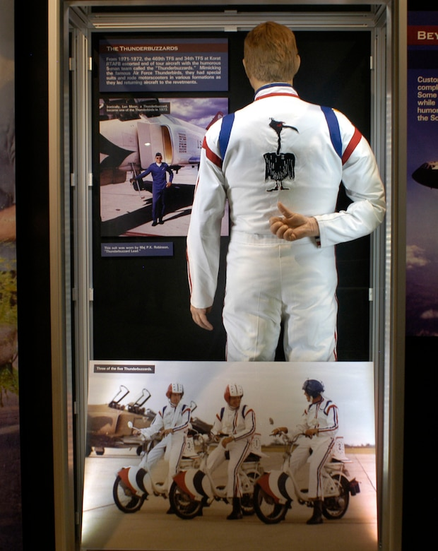 DAYTON, Ohio - A thunderbuzzards uniform in the Badge of Honor: 100 Missions Up North exhibit in the Southeast Asia War Gallery at the National Museum of the U.S. Air Force. (U.S. Air Force photo)