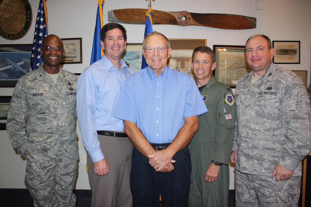 Jerry McAnulty (center) with (left to right) 45th Space Wing Commander Brig. Gen. Edward L. Bolton Jr., Col. (ret.) Thomas Bouthiller, 45th SW Vice Commander Stephen Butler and 45th Mission Support Group Commander Col. Charles Beck at Mr. McAnulty's retirement as head of Patrick Air Force Base's branch of Project Emeritus March 12 at The Tides. (U.S. Air Force photo/Airman 1st Class David Dobrydney)