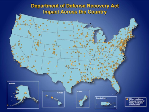 DOD Recovery Act impact across the country (DOD graphic)